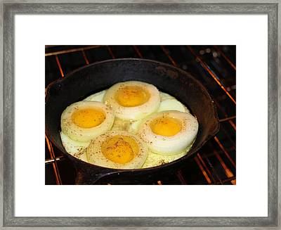 Eggs In Circles Of Onion Framed Print