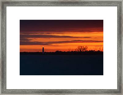 Egmont Key Lighthouse Sunset Framed Print