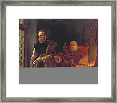 Egmonts Final Hour, After 1848 Oil On Panel Framed Print by Louis Gallait