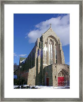 Abstract - Egner Memorial Chapel - Exterior - Muhlenberg College Framed Print by Jacqueline M Lewis