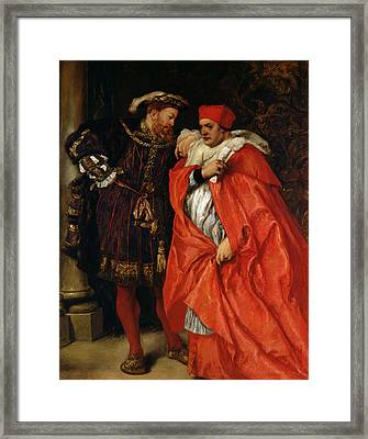 Ego Et Rex Meus, Henry Viii 1491-1547 And Cardinal Wolsey C.1475-1530 Oil On Canvas Framed Print by Sir John Gilbert