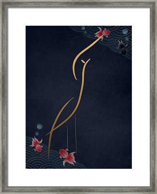 Egret At Night Framed Print
