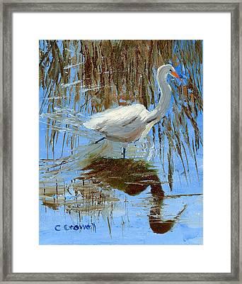 Egret Framed Print by Christine Crowell