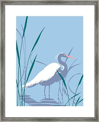 abstract Egret graphic pop art nouveau 1980s stylized retro tropical florida bird print blue gray  Framed Print by Walt Curlee