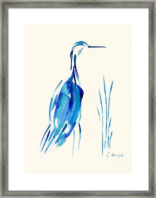 Egret In Blue Mixed Media Framed Print by Frank Bright