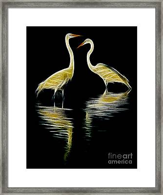 Egret Pair Framed Print by Jerry Fornarotto