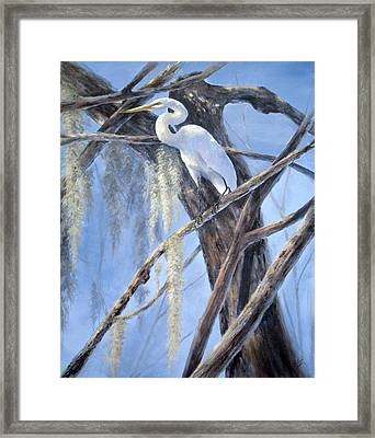 Framed Print featuring the painting Egret Perch by Mary McCullah