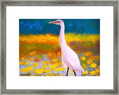 Egret Water Bird Framed Print by Jan Matson