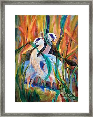 Egrets In Red 2            Framed Print by Kathy Braud