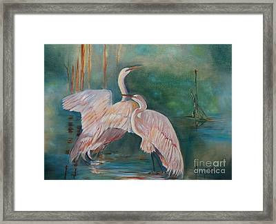Egrets In The Mist Framed Print by Jenny Lee