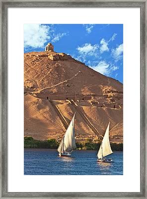 Egypt, Aswan, Nile River, Felucca Framed Print