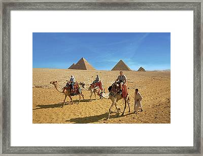 Egypt, Cairo, Giza, Tourists Ride Framed Print