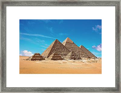 Egypt, Cairo, Giza, View Of All Three Framed Print by Miva Stock