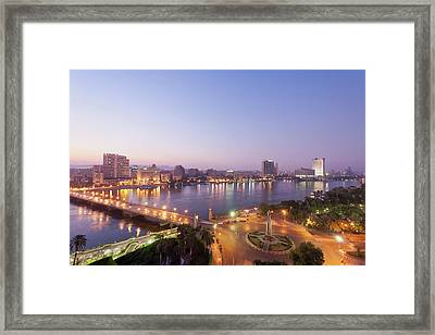 Egypt, Cairo, View Of Bridge With River Framed Print by Westend61