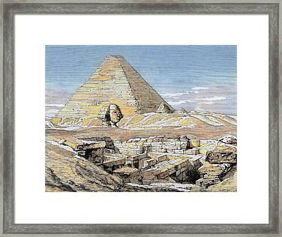 Egypt Pyramids And Sphinx Colored Framed Print by Prisma Archivo
