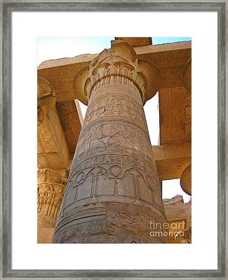 Egyptian Column With Hieroglyphics Framed Print by John Malone