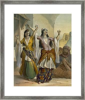 Egyptian Dancing Girls Performing Framed Print