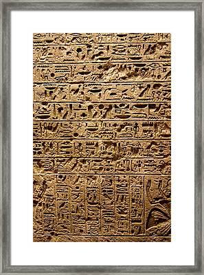 Egyptian Hieroglyphs. Framed Print by Mark Williamson