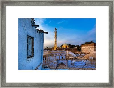 Egyptian Village Minaret At Dusk Framed Print by Mark E Tisdale