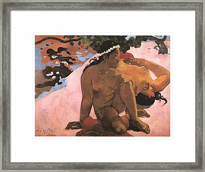 Eh Quoi Es-tu Jalouse Framed Print by Paul Gauguin
