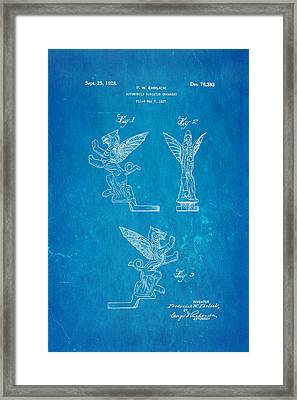 Ehrlich Hood Ornament Patent Art 1928 Blueprint Framed Print by Ian Monk