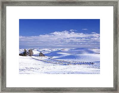 Eid Rd Barn Winter Framed Print by Latah Trail Foundation