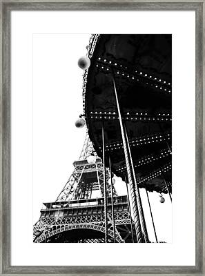Eiffel And Ride In Mono Framed Print