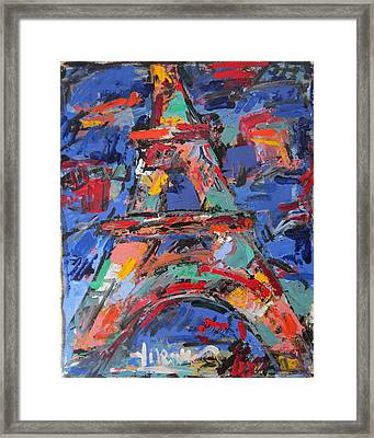 Eiffel Blue Framed Print