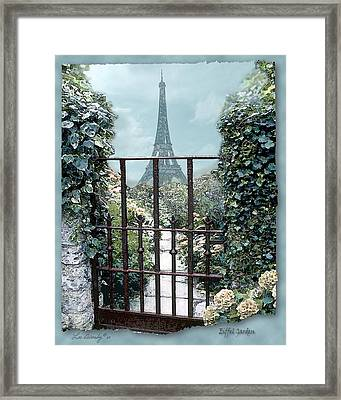Eiffel Garden In Blue Framed Print