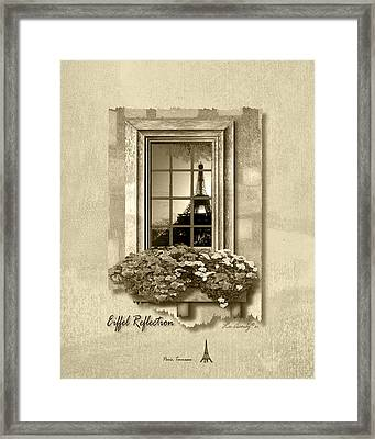 Eiffel Reflection In Sepia Framed Print