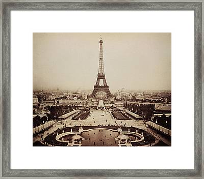 Eiffel Tower And Champ De Mars 1889 Framed Print by Bill Cannon