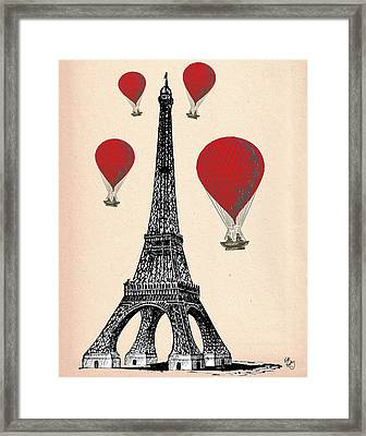 Eiffel Tower And Red Hot Air Balloons Framed Print by Kelly McLaughlan