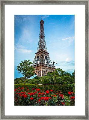 Eiffel Tower And Red Roses Framed Print by Inge Johnsson