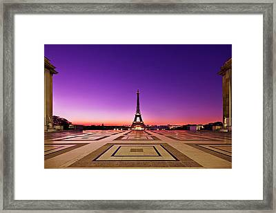 Framed Print featuring the photograph Eiffel Tower At Dawn / Paris by Barry O Carroll