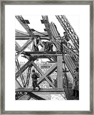 Eiffel Tower Being Constructed Framed Print by Collection Abecasis