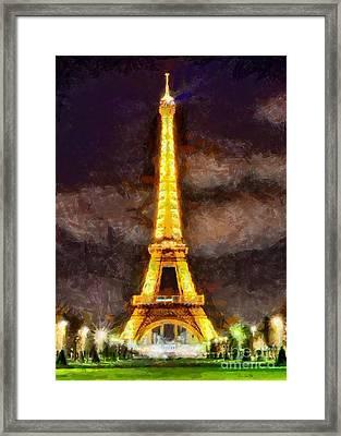Framed Print featuring the digital art Eiffel Tower By Night by Kai Saarto