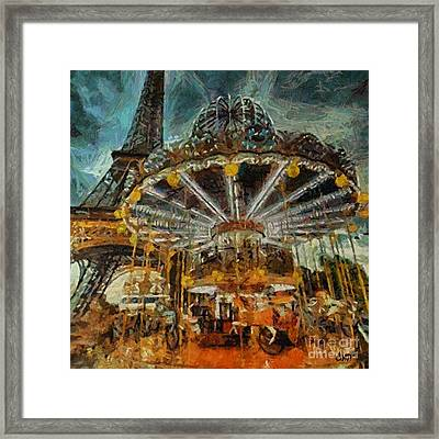 Eiffel Tower Carousel Framed Print
