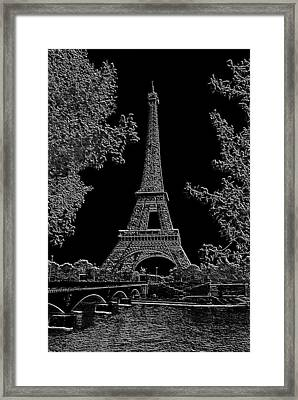 Eiffel Tower Charcoal Negative Image Dark Framed Print by L Brown