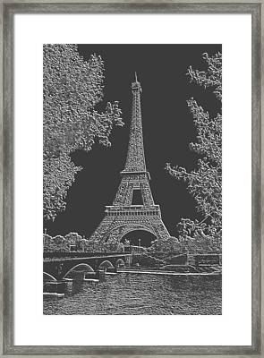 Eiffel Tower Charcoal Negative Image Framed Print by L Brown