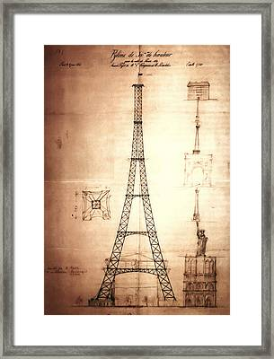 Eiffel Tower Design Framed Print by Bill Cannon