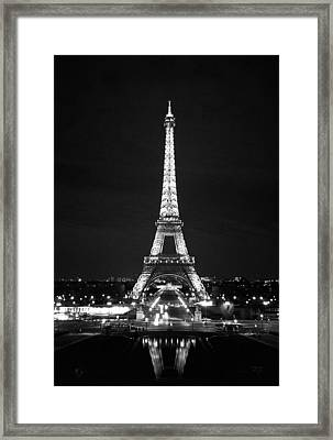 Eiffel Tower In Black And White Framed Print