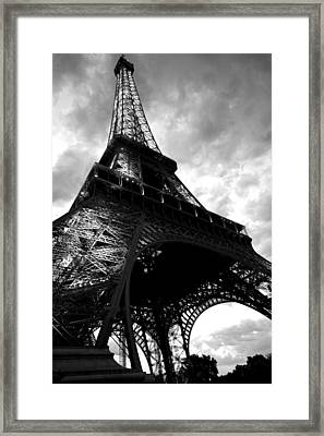 Eiffel Tower In Black And White. Ominous Sky Overhead Framed Print by Toby McGuire