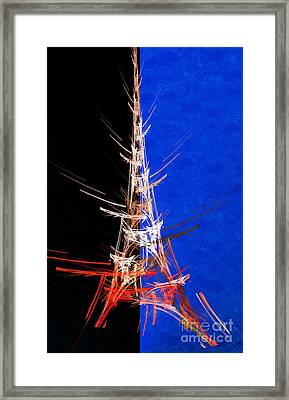 Eiffel Tower In Red On Blue  Abstract  Framed Print by Andee Design