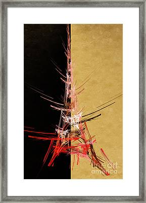 Eiffel Tower In Red On Gold  Abstract  Framed Print by Andee Design