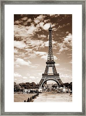 Eiffel Tower In Sepia Framed Print by Elena Elisseeva