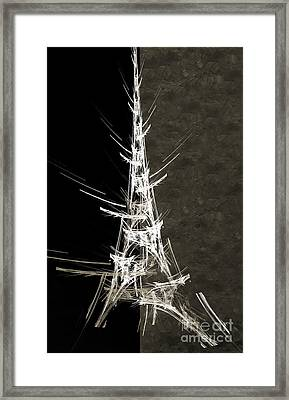 Eiffel Tower In White Bw 2 Abstract Framed Print by Andee Design