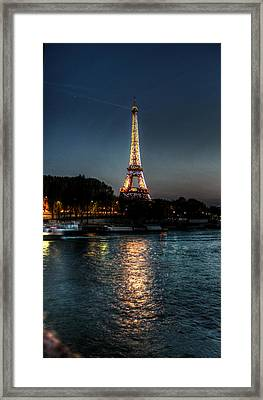 Eiffel Tower Night Time Framed Print by Steve Ellenburg
