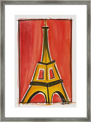 Eiffel Tower Orange And Yellow Framed Print