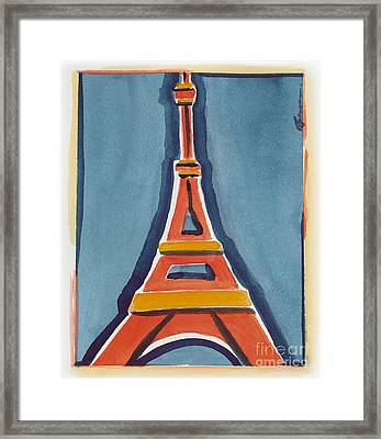 Eiffel Tower Orange Blue Framed Print