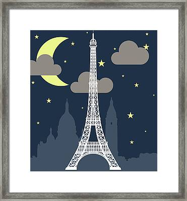 Eiffel Tower Over Night With Stars And Framed Print by Atypeek